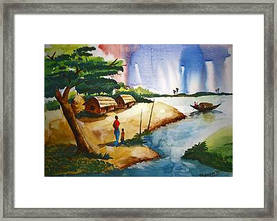 Village Landscape Of Bangladesh Framed Print by Shakhenabat Kasana