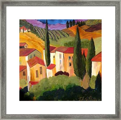 Villas Of Tuscany  Framed Print by Therese Fowler-Bailey