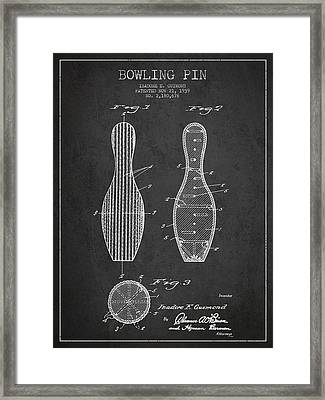 Vintage Bowling Pin Patent Drawing From 1939 Framed Print by Aged Pixel