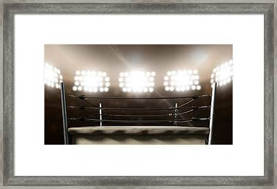 Vintage Boxing Ring In Arena Framed Print by Allan Swart