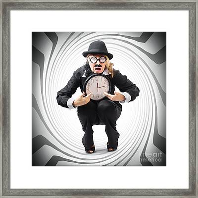 Vintage Business Man Stuck With Clock. Time Crunch Framed Print by Jorgo Photography - Wall Art Gallery