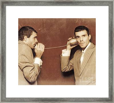 Vintage Business People Talking On Can Telephone Framed Print by Jorgo Photography - Wall Art Gallery