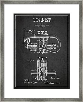 Cornet Patent Drawing From 1901 - Dark Framed Print by Aged Pixel