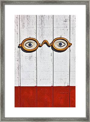 Vintage Eye Sign On Wooden Wall Framed Print by Garry Gay