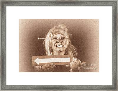 Vintage Grunge Monster Holding Arrow Card Framed Print by Jorgo Photography - Wall Art Gallery