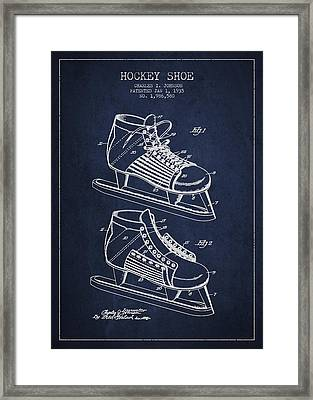 Vintage Hockey Shoe Patent Drawing From 1935 Framed Print by Aged Pixel