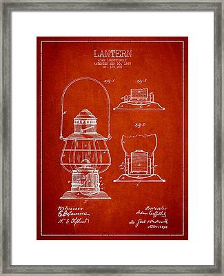 Vintage Lantern Patent Drawing From 1887 Framed Print by Aged Pixel