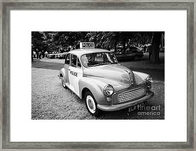 Vintage Morris Minor Police Car At A Car Rally County Down Northern Ireland Uk Framed Print by Joe Fox