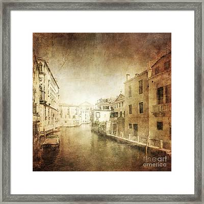 Vintage Photo Of Venetian Canal Framed Print by Evgeny Kuklev