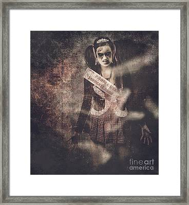 Vintage Photograph Of A Dead Zombie Prom Queen Framed Print by Jorgo Photography - Wall Art Gallery
