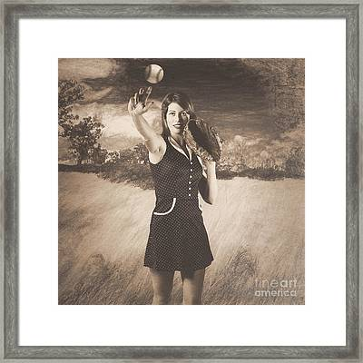 Vintage Pin Up Girl Pitching Baseball Framed Print by Jorgo Photography - Wall Art Gallery