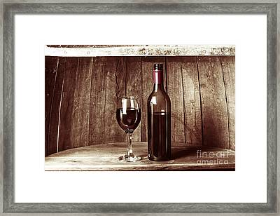 Vintage Red Wine In Old Winery Cellar Barrel  Framed Print by Jorgo Photography - Wall Art Gallery