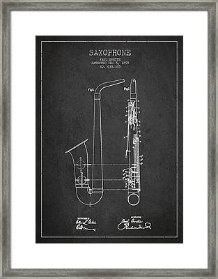 Saxophone Patent Drawing From 1899 - Dark Framed Print by Aged Pixel