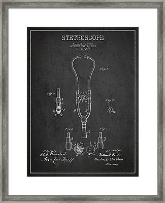 Vintage Stethoscope Patent Drawing From 1882 - Dark Framed Print by Aged Pixel