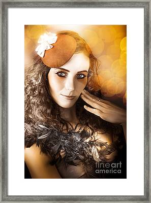 Vintage Style Actress Performing In French Beret Framed Print by Jorgo Photography - Wall Art Gallery