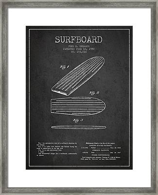 Vintage Surfboard  Patent From 1958 Framed Print by Aged Pixel
