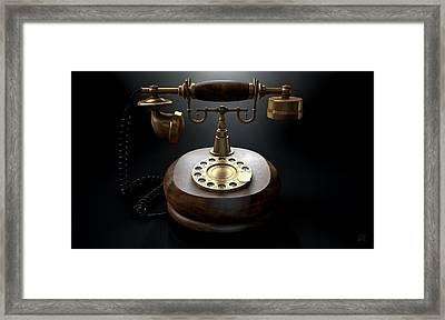Vintage Telephone Dark Isolated Framed Print by Allan Swart