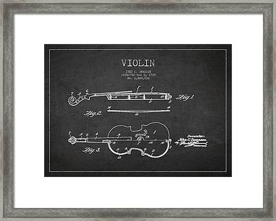 Vintage Violin Patent Drawing From 1928 Framed Print by Aged Pixel