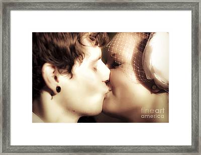 Vintage Wedding Kiss Framed Print by Jorgo Photography - Wall Art Gallery