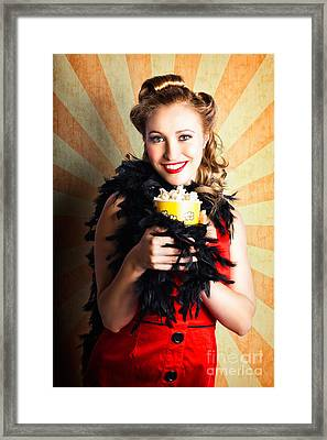 Vintage Woman Eating Popcorn At Movie Premiere Framed Print by Jorgo Photography - Wall Art Gallery