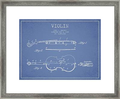 Violin Patent Drawing From 1928 Framed Print by Aged Pixel