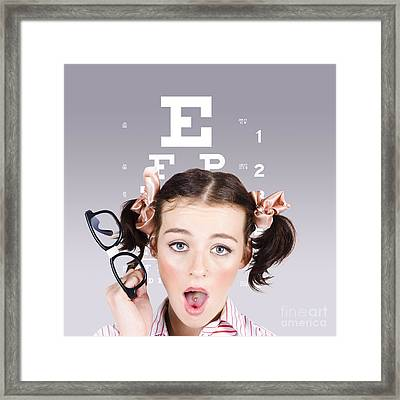 Vision Impaired Woman At Optometrist Framed Print by Jorgo Photography - Wall Art Gallery