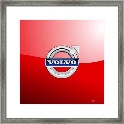 Volvo - 3d Badge On Red Framed Print by Serge Averbukh