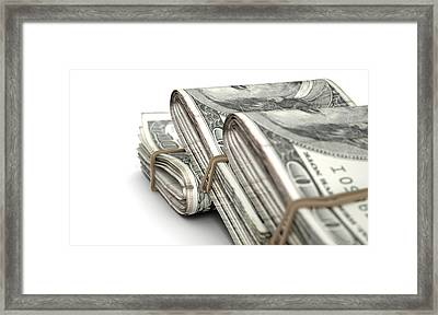 Wads Of Notes Pile Framed Print by Allan Swart