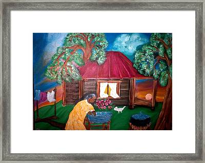 Wash Day At Aunties Framed Print by Mildred Chatman