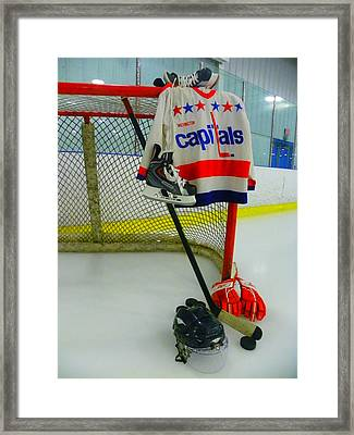 Washington Capitals Vintage Home Hockey Jersey Framed Print by Lisa Wooten