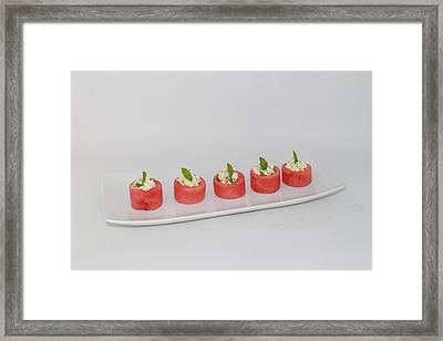 Water Melon Cups With Feta Cheese And Mint Framed Print by Ash Sharesomephotos