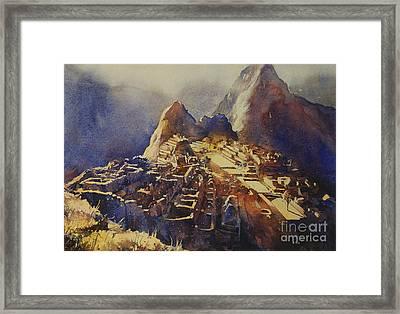 Watercolor Painting Machu Picchu Peru Framed Print by Ryan Fox