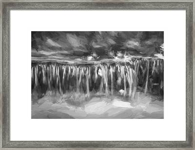 Waterfalls Childs National Park Painted Bw   Framed Print by Rich Franco