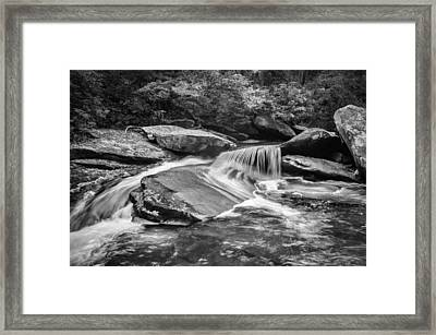 Waterfalls Great Smoky Mountains Painted Bw  Framed Print by Rich Franco