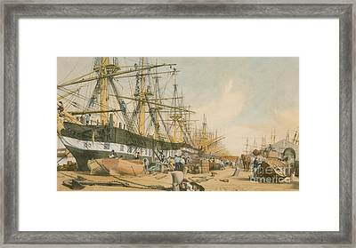 West India Docks From The South East Framed Print by William Parrot