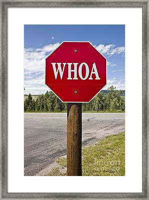 Whoa Stop Sign Framed Print by Rafael Macia