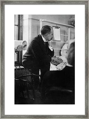 William Osler Attending A Patient Framed Print by National Library Of Medicine