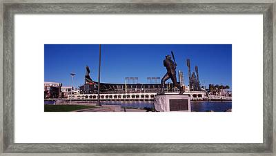 Willie Mays Statue In Front Framed Print by Panoramic Images
