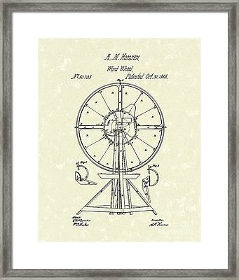 Wind Wheel 1865 Patent Art Framed Print by Prior Art Design