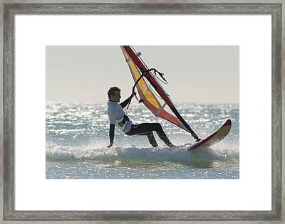 Windsurfing Los Lances Beach Tarifa Framed Print by Ben Welsh