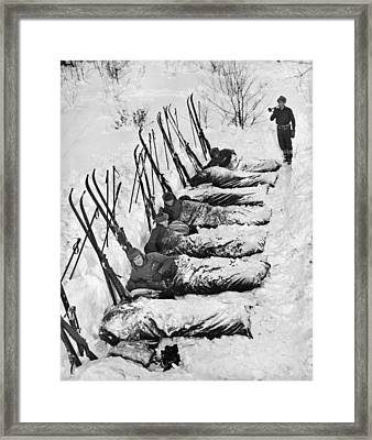 Winter Camping Framed Print by Underwood Archives
