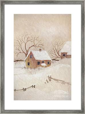Winter Scene With Farmhouse/ Digitally Altered Framed Print by Sandra Cunningham