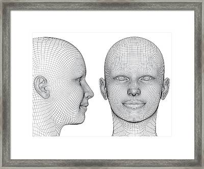 Wireframe Heads Framed Print by Alfred Pasieka