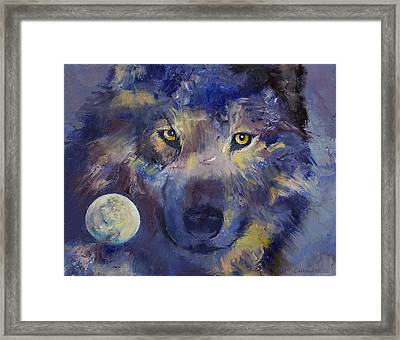 Grey Wolf Moon Framed Print by Michael Creese