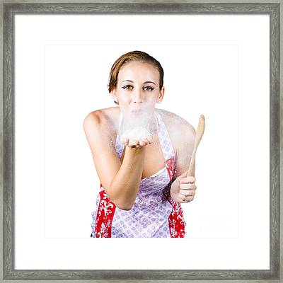 Woman Blowing Flour Off Hand Framed Print by Jorgo Photography - Wall Art Gallery