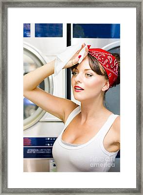 Woman Exhausted From Cleaning Framed Print by Jorgo Photography - Wall Art Gallery