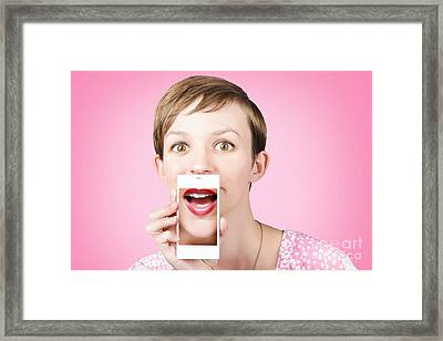 Woman Gossiping To Friends On Phone Video Chat  Framed Print by Jorgo Photography - Wall Art Gallery