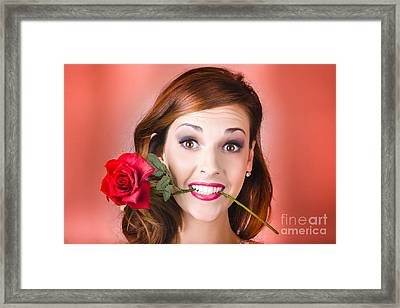 Woman Gripping Red Rose Between Her Teeth Framed Print by Jorgo Photography - Wall Art Gallery