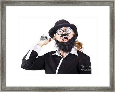 Woman In Mens Clothes With Service Bell Framed Print by Jorgo Photography - Wall Art Gallery
