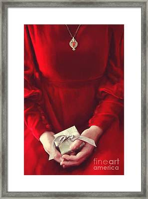 Woman In Red Dress Holding Gift/ Digital Painting Framed Print by Sandra Cunningham
